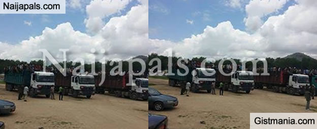 PHOTO: Pathetic Photo Of Nigerians Deported From Cameroon Loaded In Cattle Trucks