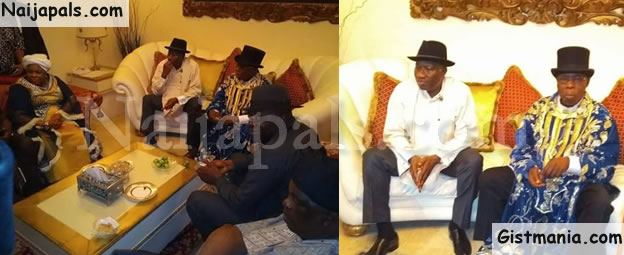 Olusegun Obasanjo Meets With Goodluck Jonathan And His Wife, Patience In Otueke (Photos)