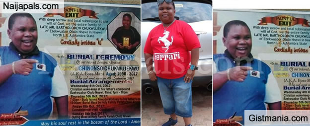 "Burial Poster Of Late Nollywood Actor, Chinonso Chukwujekwu Aka ""Main Bossman"", Set To Be Buried In October"