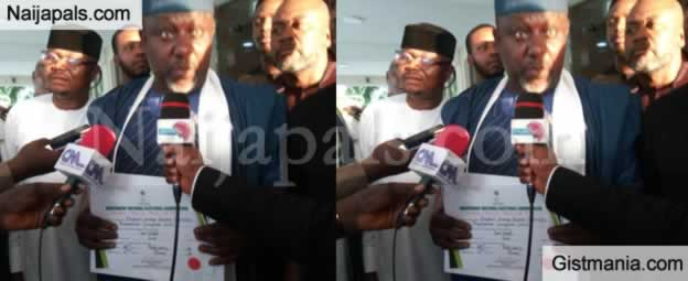Finally! Rochas Okorocha Gets Certificate of Return (Photo)