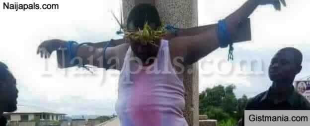 "Gov. Rochas Okorocha Plays The Role Of ""Jesus"" as He Crucifies Himself On The Cross"