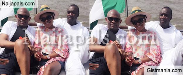Power Shot! Omoni Oboli Hangs Out With Akon and Tony Elemelu On A Yatch (Photo)