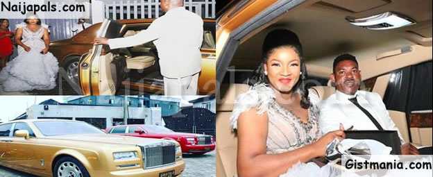 TOO MUCH MONEY! Actress Omotola Ekeinde Celebrates 40th Birthday In Gold Rolls Royce Phantom (Photos)