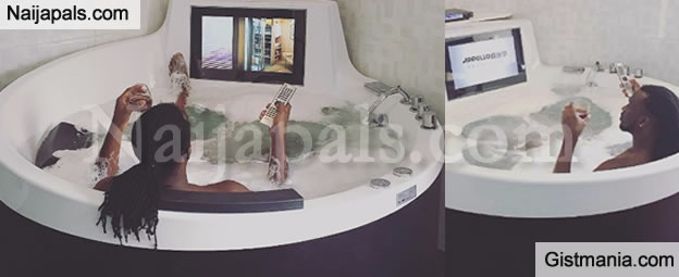 Enjoy Your Hustle! Photo Paul Okoye Of PSquare Chilling In A Jacuzzi With A Built In Plasma TV