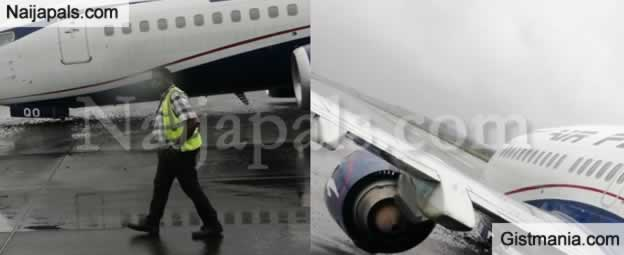 A Plane 'Crash-Landed' Today At The Facility Wing Of Murtala Mohammed Airport