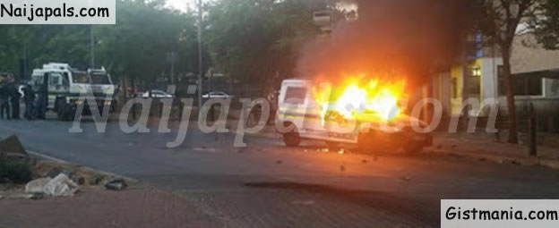 South African Students Burn Police Vehicle During Protest Against School fees Hike (PHOTOS)