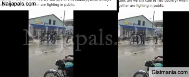 Watch As Policeman And Soldier Seen Fighting In Public (Video)