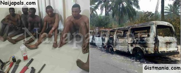 Politicians Sent Us – Cultists Who Burned INEC Buses In Akwa Ibom Confesses
