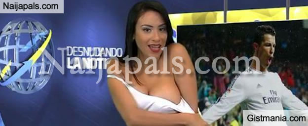 VIDEO & PHOTOS: Female Reporter Strips Naked While Reporting On Cristiano Ronaldo and Playboy Model, Daniella Chavez