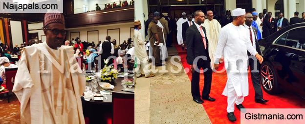 Photos: President Buhari Abandons Lunch For Mosque