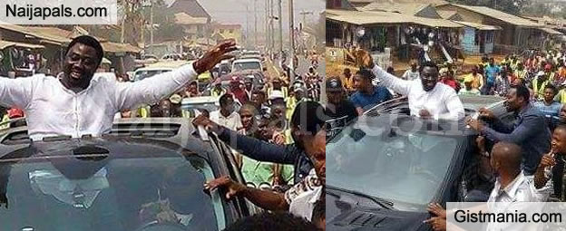 Mercy Johnson's Husband, Prince Odi Okojie Gets A Hero's Welcome In His Hometown