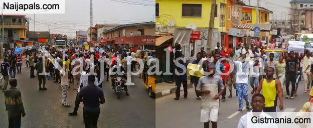 BREAKING! Mass Protest Going On In Lagos Over Fuel Scarcity And Power Shortage