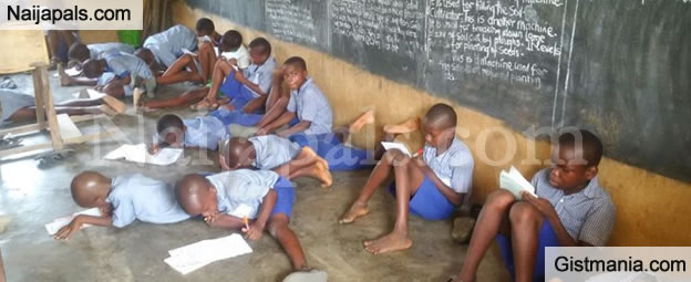 Disheartening Photos Of Primary School Pupils Sitting On The Floor To Write Exams In Akwa Ibom State