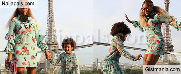 Checkout Cute Photos Of Queen Bey & Daughter, Blue Ivy As They Step Out In Matching Outfit