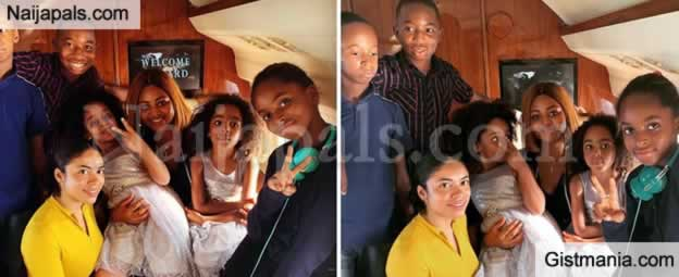 Mrs. Regina Daniels Nwoko Steps Out With Her Step Kids and Husband in a Private Jet
