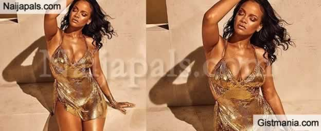 Rihanna Shows Off Cleavage In Golden Mini Dress