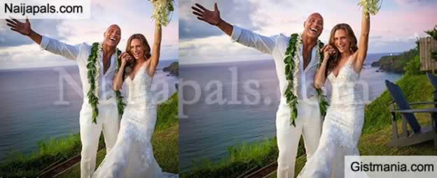 Nollywood Actor Dwayne 'The Rock' Johnson Finally Ties Knot With His Long-Time Girlfriend (Photos)