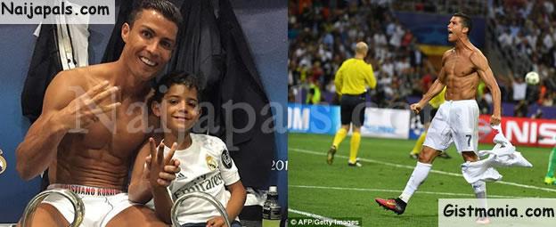 Lovely Photo Of Cristiano Ronaldo & Son Celebrating Real Madrid Champions League Win