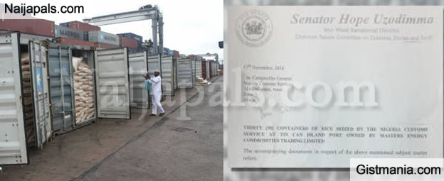 Letter Of Senator Uzodinma Pressuring Custom Boss To Release 30 Containers Of Rice Imported As Yeast