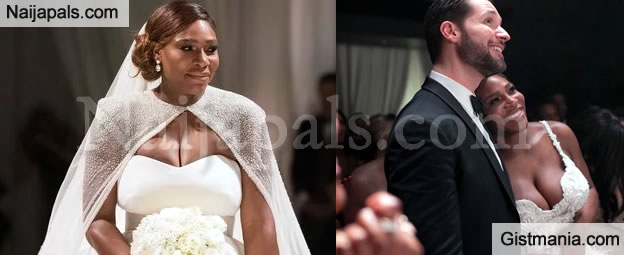 Tennis Star, Serena Williams Looks Stunning In Her $2.6m Wedding Gown + More Photos From The Wedding