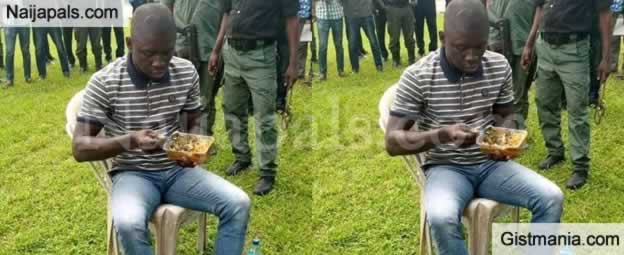 Nigerians React As P.H Serial Killer,Gracious David West Was Pictured Eating While Been Paraded