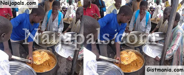 SO RIDICULOUS! Shovel Used To Serve Food At IDP Camp In Maiduguri (PHOTOS)