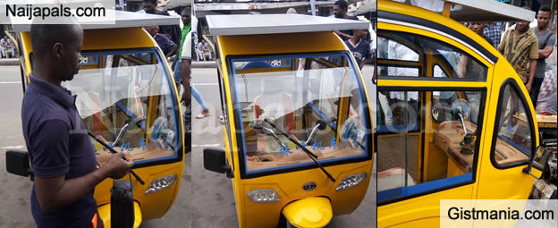 People Left Stunned As Nigerian Man Showcases Solar Powered Tricycle He Built In Lagos (Photos)