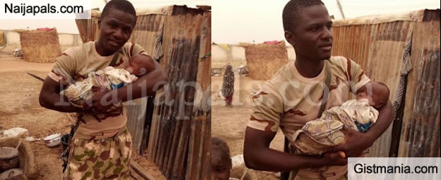 Heroic Soldier Stayed Back to Help Woman Deliver Baby During Boko Haram Attack (PHOTOS)
