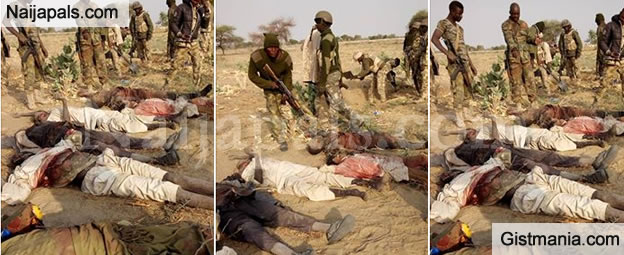 Soldiers Rejoice After A Military Onslaught Against Boko Haram, Pose With Slain Boko Haram Bodies