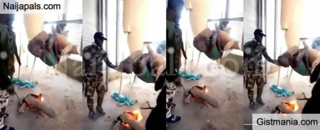 Outrage As Nigerians Soldiers 'Roast' Their Suspect In Viral Video