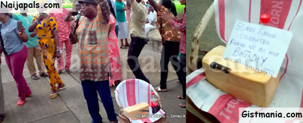 PHOTOS: Just Imagine The Birthday Gift Protesting FUTA Senior Staff Presented To The VC