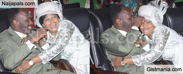 LOVE NWANTINTIN! Apostle Suleman Pictured Playing 'Love' With His Wife During Church Service