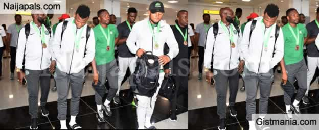 Watch How Super Eagles Of Nigeria Were Received At Abuja Airport After Winning Bronze At AFCON