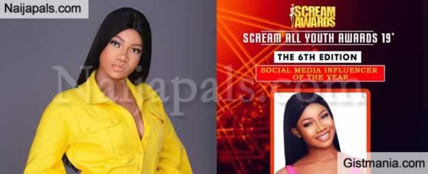 Reality Star, Tacha Bags 'Social Media Influencer Of The Year' Award At Screams Awards Ceremony