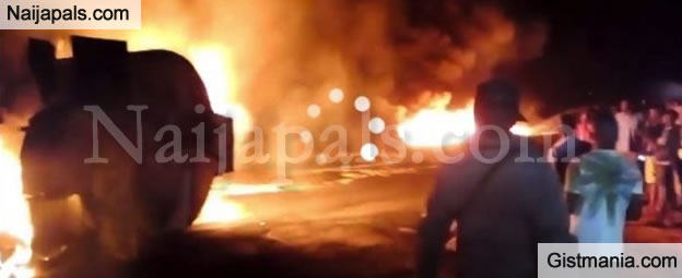 Terrible Moment Petrol Tanker Fell & Exploded Last Night Along Toll Gate In Ogun State (Video)