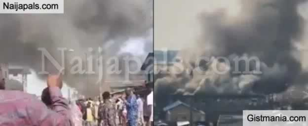 Breaking : Pandemonium As Fire Breaks Out At Tejuosho Market In Lagos