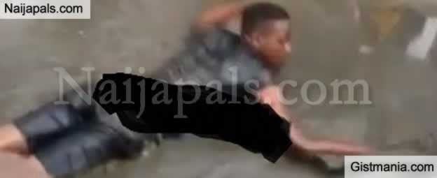 Young Thief Forced To Swim In Dirty Water After He Was Caught Stealing In Lekki
