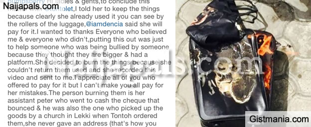 Tonto Dikeh Burns Designer Bags She Bought From Pearl Chuks, Sends Her The Video