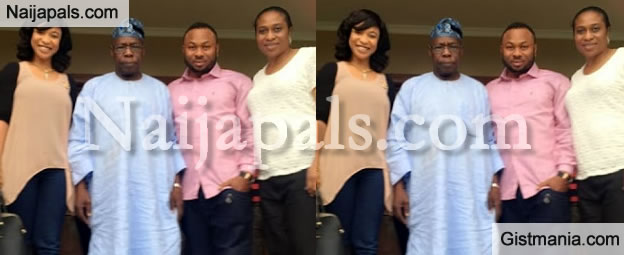 "Tonto Dikeh And Her Boyfriend, ""Mr X"" Hangs Out With Ex President Obasanjo [Photo]"