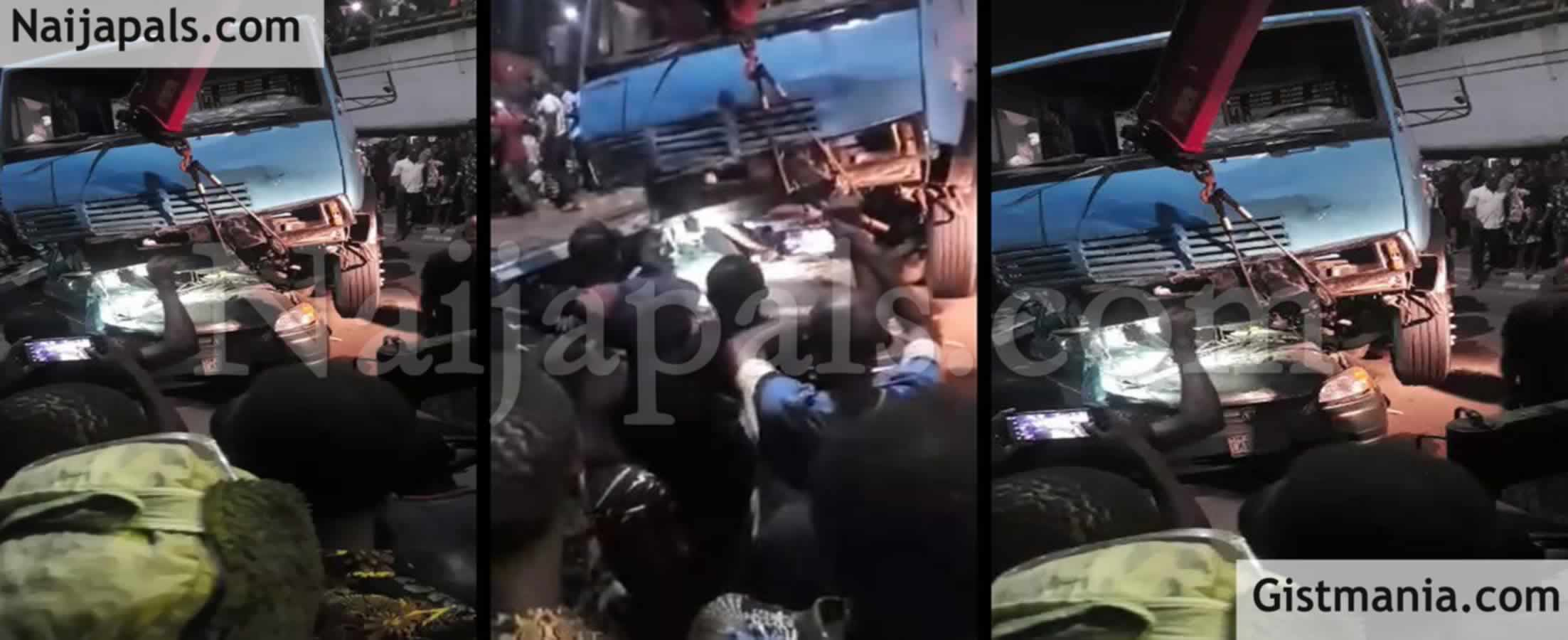 OMG! Many Feared Dead As Container Lorry Fell On People In Ojuelegba