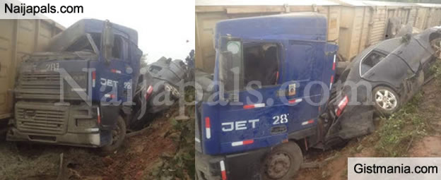 OH NO! Truck & Car Collide With A Moving Train Along Ibadan/Abeokuta Road (Photos)