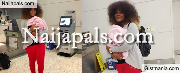 Look Who Is Back In Nigeria? Actress, Uche Ogbodo Returns From USA With Baby