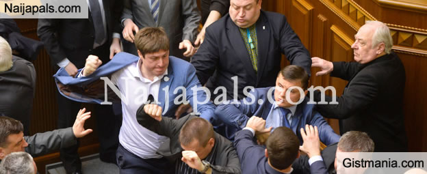 Nationalist & Communist Politicians Brawl In Ukraine Parliament (Video)