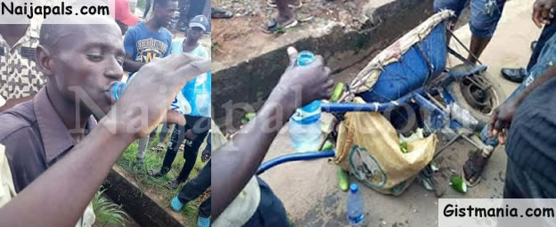 Man Caught Spraying Urine On The Cucumbers He Sells In Owerri (Photos)