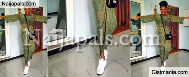 MADNESS? Waje Wore Native Ankara On Nike Trainers To Church (Photos)