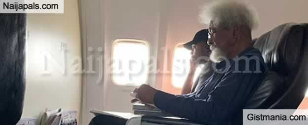 Moment Respected Scholar, Prof. Wole Soyinka Was Asked To Get Up From A Flight Seat By A Young Guy
