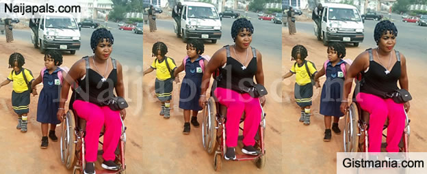 SMH! Emotional Photo Of Physically Challenged  Mother Taking Her 3 Kids To School