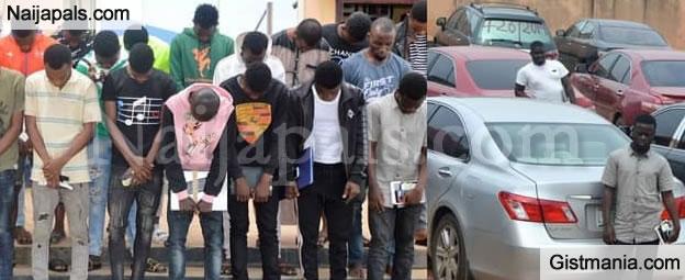 EFCC Raid Osun, Arrest 27 Yahoo Boys & Girls In Oshogbo, A Lot of Exotic Cars Recovered (Photos)