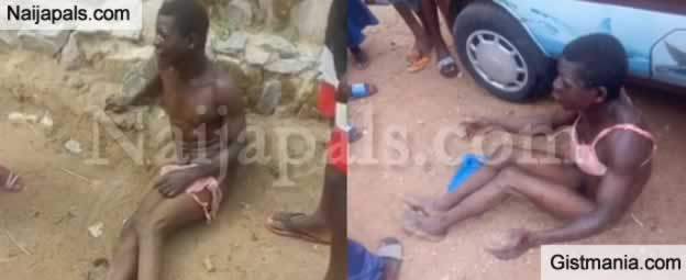 Man Caught Stealing Pants And Bra, Stripped Naked And Forced To Wear Them in Ogbomosho (Photos +Video)
