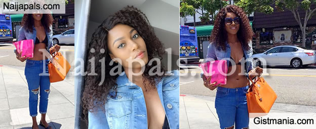 Yvonne Nelson Steps Out In Just A Bikini Top & Distressed Boyfriend Jeans - Check It Out
